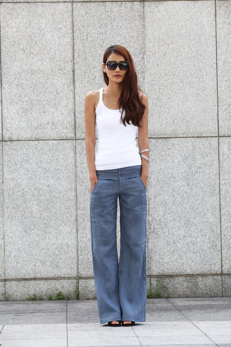 Elegance Casual Splicing Edging Straight Low-waist Pants in Grey Bluer - NC400. $58.00, via Etsy.