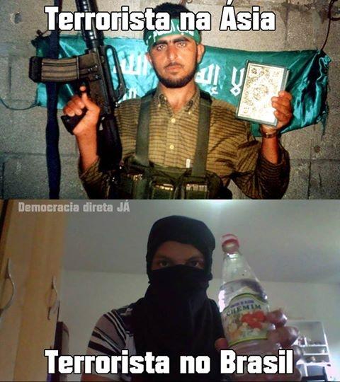 Terrorista na Ásia, terrorista no Brasil