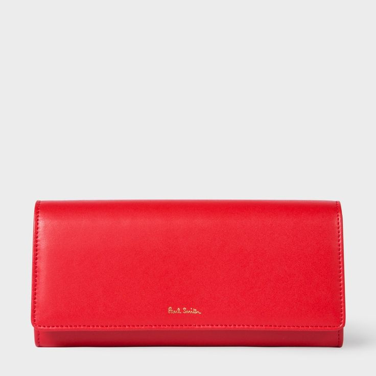 PAUL SMITH Women'S Red Leather Tri-Fold Purse With 'Artist Stripe' Interior. #paulsmith #all