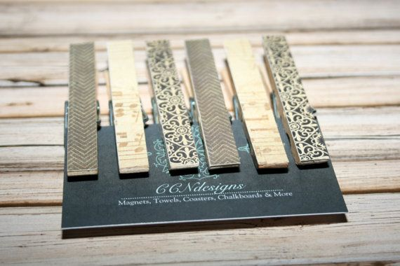 This listing is for a set of six (6) black and brown refrigerator clothespin magnets. These black and brown magnets are perfect for holding important papers on the fridge etc while still looking decorative. They also make a great housewarming or hostess gifts. The designs for this set