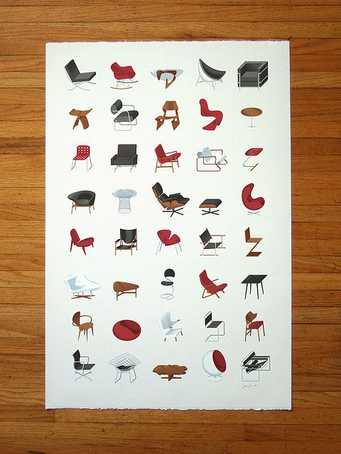 An illustrated collection of icon mid-century modern furniture, including Eames, Bertoia, Le Corbusier, van der Rohe, Noguchi  many more.