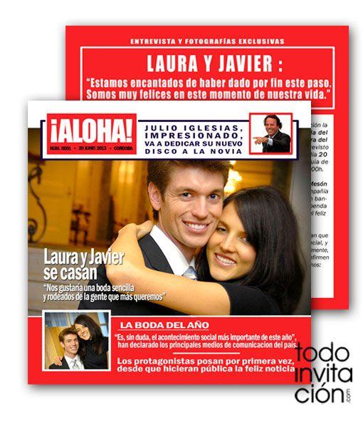 Invitación de boda muy divertida tipo portada de revista. Imitando una revista del corazón podréis dar la exclusiva de vuestra boda a vuestros invitados.