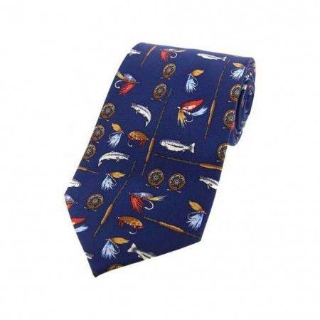 Blue Fishing Tackle Design Silk Tie - £17.50