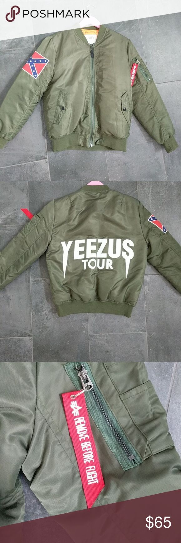 Kanye West Yeezus Tour Bomber Jacket 100% authentic. Purchased from concert. Worn one and in PERFECT condition. Re-poshing because it's a bit too big for me :( Yeezy Jackets & Coats