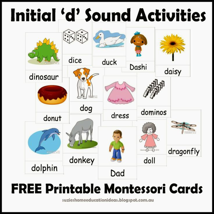 Initial 'd' Sound Activities Printable Cards Alphabet