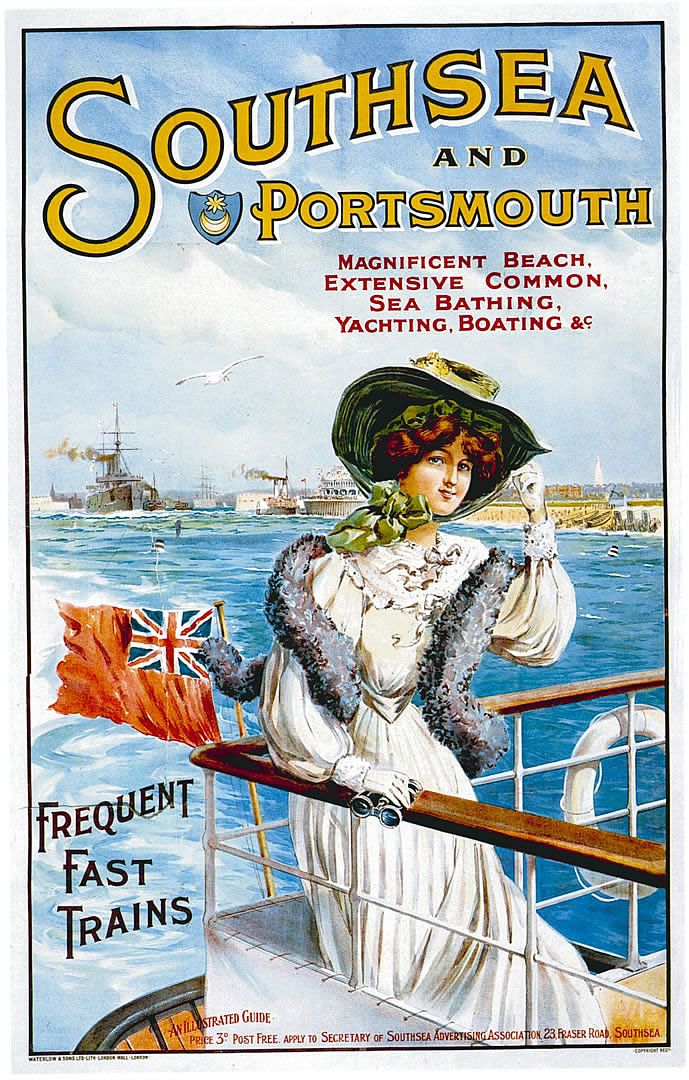 Southsea and Portsmouth poster promoting the area on England's southern coast for vacations back in 1905