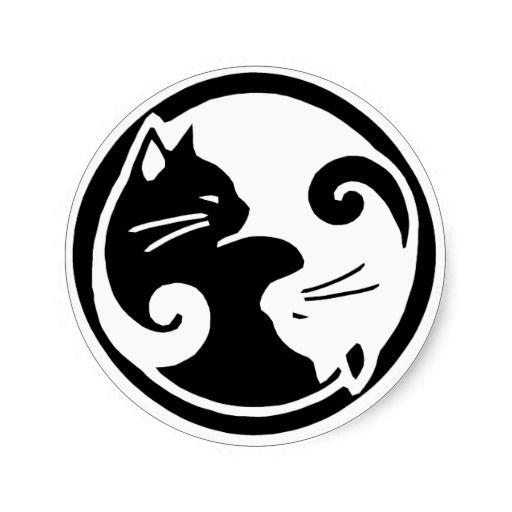 Etiquetas dos gatos de Yin Yang Adesivo Em Formato Redondo                                                                                                                                                                                 Mais