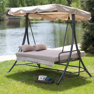 Coral Coast Lazy Caye 3 Person All-Weather Swing Bed with Toss Pillows - Cappuccino - SWING406-CAPPUCCINO2
