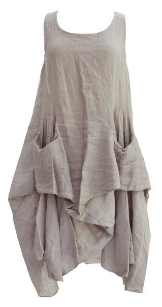 Ladies Womens Italian Lagenlook Quirky Rusched Balloon Parachute Hitched Bottom Linen Tunic Dress One Size