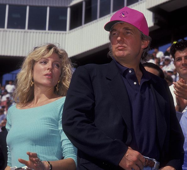 Marla Trump and Donald Trump attend US Open Tennis Tournament on September 9 1992 at Flushing Meadows Park in New York City