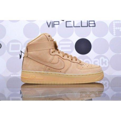 Sneaker alte Nike Air Force 1 high beige, scarpe per ragazzi e ragazze in pelle con punta traforata traspirante, chiusura a strappo.
