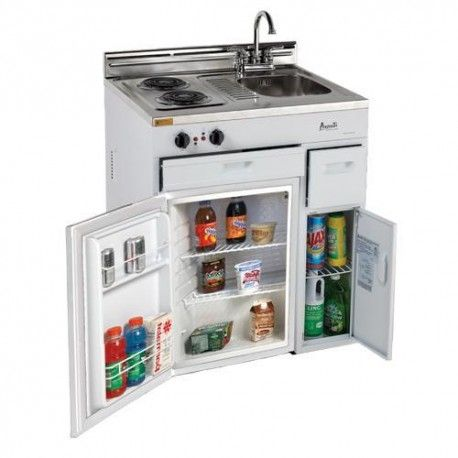 """Avanti CK3016 30"""" Complete Compact Kitchen With 2.2 Cu. Ft. All Refrigerator, Stainless Steel Sink With Chrome Faucets, Two Drawers, Energy Star, Integrated Backsplash, In White"""