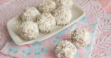 (Рисовый пудинг)Кокосовые конфеты с ореховой пастой и шоколадными шариками