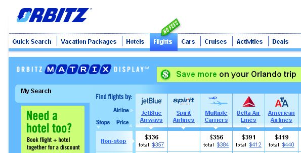 """#8) Orbitz: """"Well, I finally found Orbitz Worldwide on Orbitz.com online after searching directly for it.  I've never heard of it, and they don't advertise like Priceline and Expedia. It doesn't even come up in a Google Search like Kayak and Hotwire...but it is ranked the #3 Online Travel Site for 2014 by Top Ten Reviews. They don't seem to do much advertising. It looks like it's more geared toward hotels, but you can book flights, cars, cruises, even activities while you're on vacation!"""""""