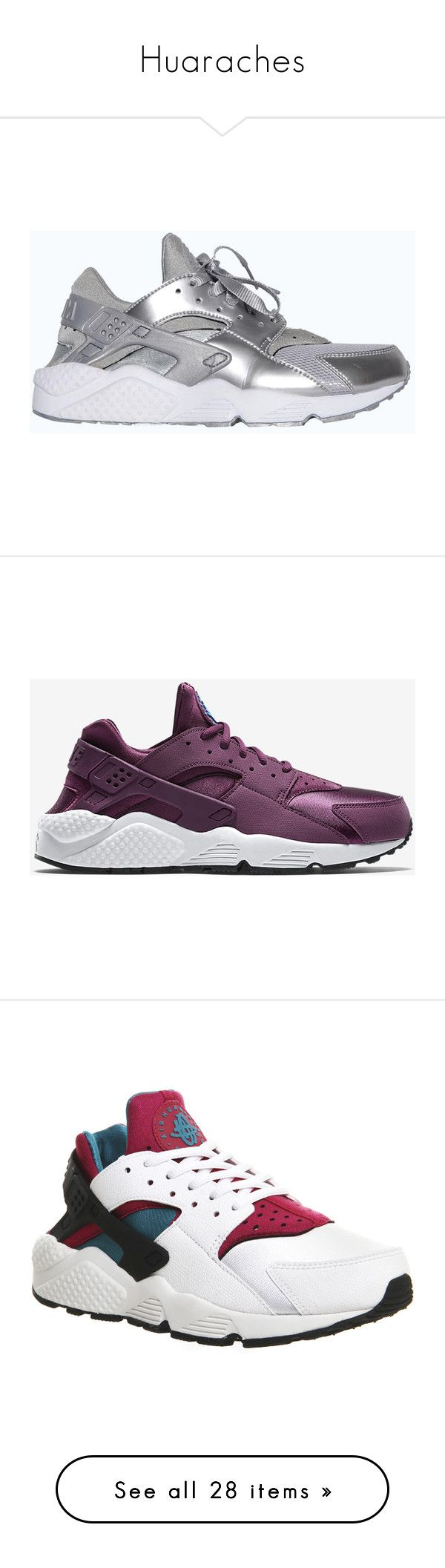"""""""Huaraches"""" by queen-peaches ❤ liked on Polyvore featuring shoes, nike, sneakers, huarache, lace up flat shoes, nike trainers, woven shoes, lacing sneakers, black and white trainer and huaraches"""