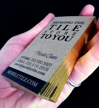 100 recycled gold edge business cards for mobile tile by for Tiler business card