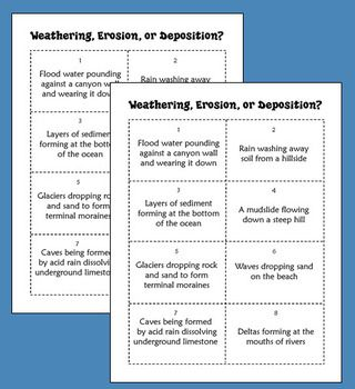 FREE Weathering, Erosion, and Deposition Sorting Activity - Laura Candler - TeachersPayTeachers.com