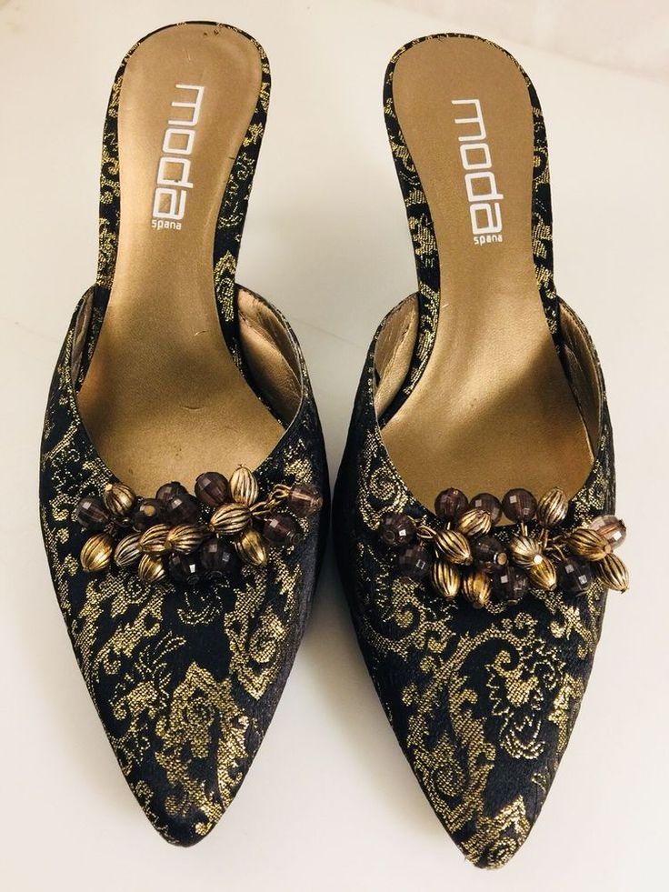 Moda Women's Pointed Shoes with Beads Embellishment Size 8 black and gold  | eBay