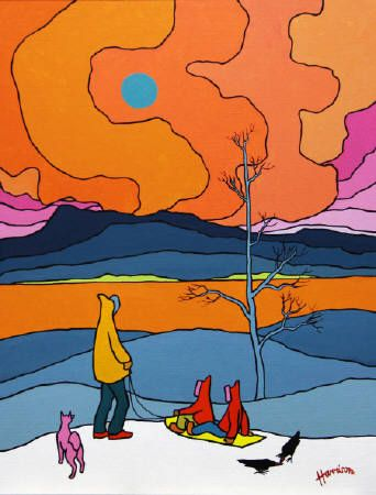 Sled Haul - 1981 by Edward (Ted) Harrison CM presented by Hambleton Galleries