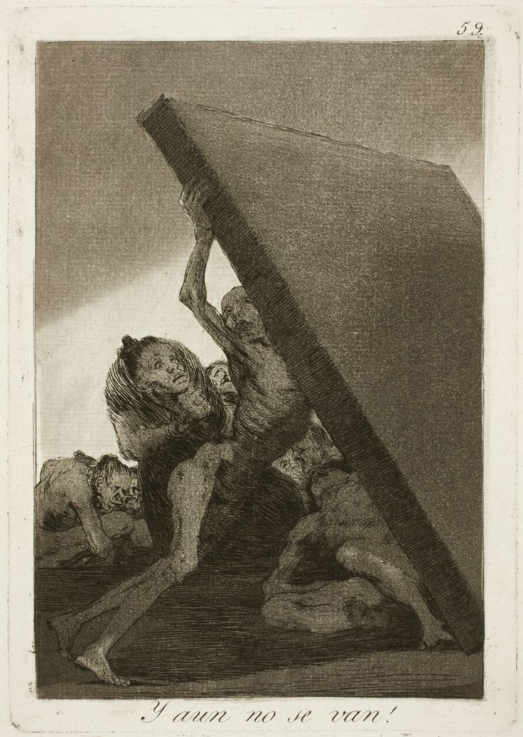 "Francisco de Goya: ""Y aun no se van!"". Serie ""Los caprichos"" [59]. Etching, aquatint and burin on paper, 214 x 150 mm, 1797-99. Museo Nacional del Prado, Madrid, Spain"
