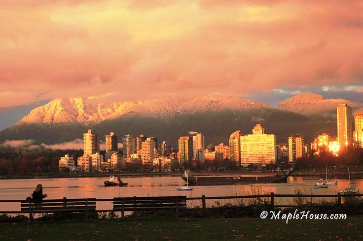Gorgeous evening, snow on Vancouver mountains. Vanier Park, Kitsilano