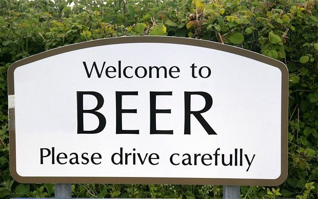 "It may be more famous for scones and fudge, but Devon is also well-known for being the home of beer – well, a village called Beer at any rate. There's some division over where the name comes from, but it's probably linked to the Ango-Saxon beauru (""grove"")."