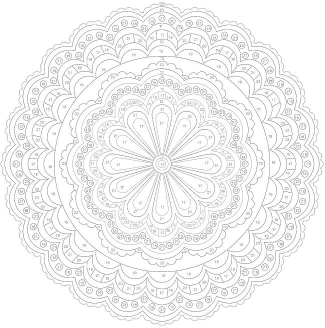 ColorByNumber Mandala Coloring pages colouring adult detailed advanced printable Kleuren voor volwassenen coloriage pour adulte anti-stress kleurplaat voor volwassenenhttp://www.doverpublications.com/zb/samples/79797x/sample6e.html