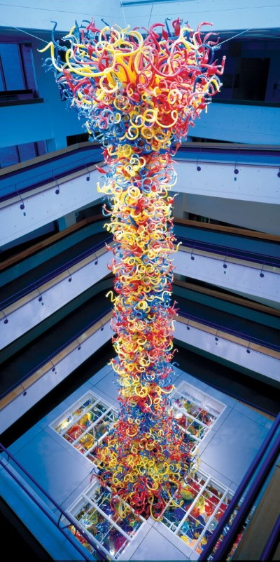 (I've seen it! -cg) The five-story Fireworks of Glass sculpture by Dale Chihuly at the Children's Museum of Indianapolis.