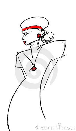 a fashion drawing of a woman in a hat