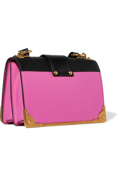 Prada - Cahier Small Two-tone Leather Shoulder Bag - Pink - one size