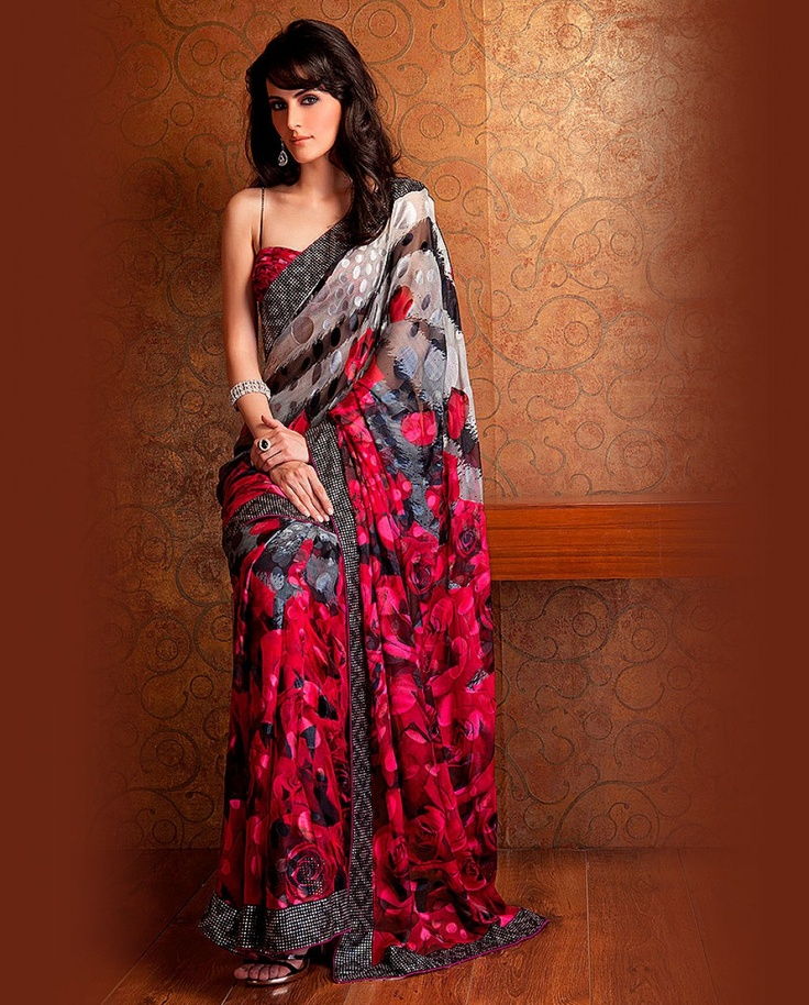 Georgette Brasso saree with Swarovski border