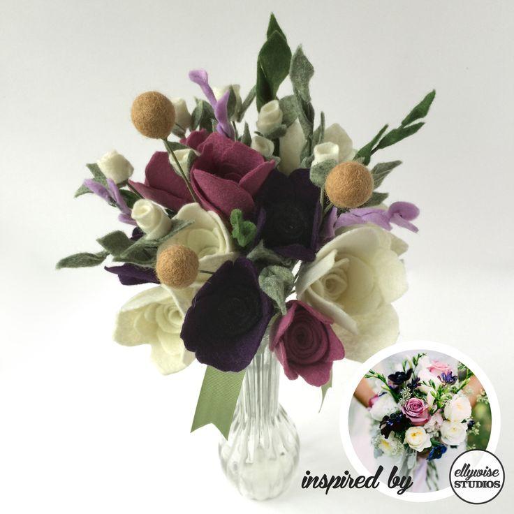 Fall rehearsal bouquet inspired by @KellyGinn22  photo Ellywise Studios felt flowers memphis wedding purple