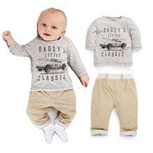 Hot koop 2015 babykleding jongens sets nieuwe europese auto kaart gedrukt lange mouwen t-shirts + broek kinderkleding pak(China (Mainland))