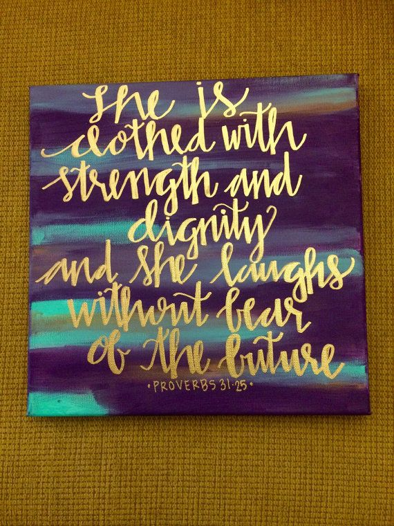 She Is Clothed With Strength And Dignity Custom Canvas Quote Bible Verse Wall Home Decor Proverbs Blue Gold And Purple