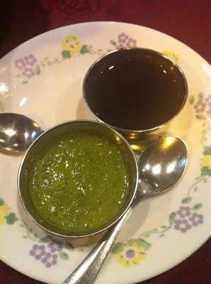 Tamarind and some other sauce, delicious www.theindiankitchen.ca