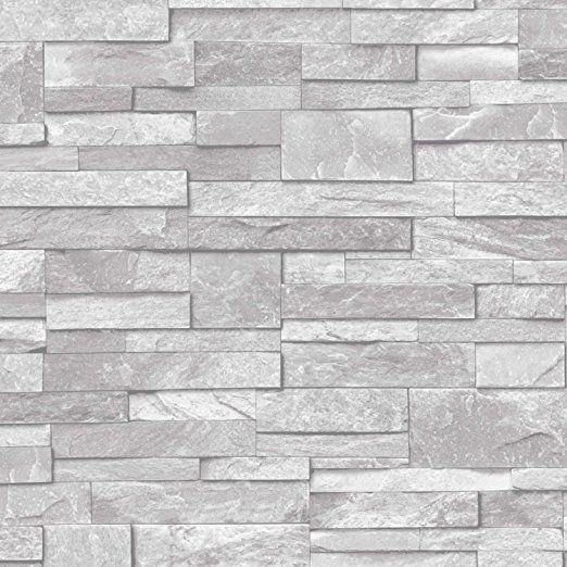 3D Slate Stone Brick Effect Wallpaper Washable Vinyl Natural Grey | Amazon.co.uk