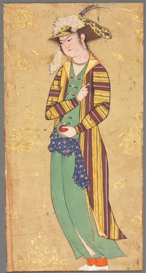 Youth Holding a Pomegranate; Illustration from a Single Page Manuscript, c.1600-1650 style of Riza-yi Abbasi (Iranian) opaque watercolor and gold on paper, Image - h:15.30 w:8.00 cm (h:6 w:3 1/8 inches) Overall - h:27.70 w:16.40 cm (h:10 7/8 w:6 7/16 inches). Purchase from the J. H. Wade Fund 1947.497
