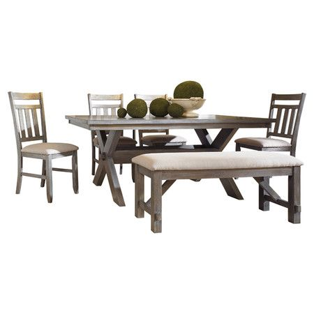 Found it at Wayfair - Turino 6 Piece Dining Set in Grey Oak  dinning table with bench