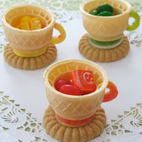 Edible teacups; ice cream cone, cookie, candies