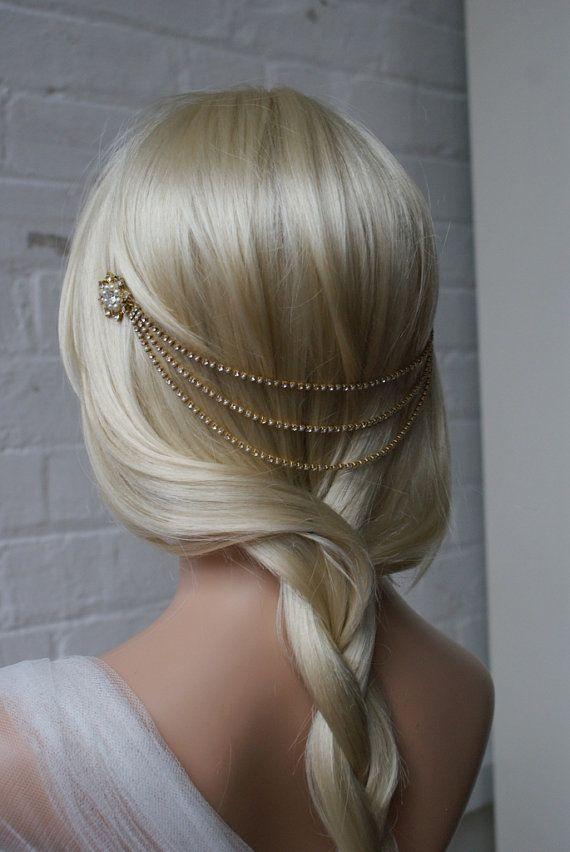 Copricapo d'oro con perle - Boemia matrimonio copricapo - copricapo catena oro - abiti da sposa o damigelle capelli accessorio - anni venti copricapo - UK