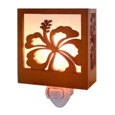 "Hibiscus Wood Tropical Night Light 3.5"""" X 3.25"""""