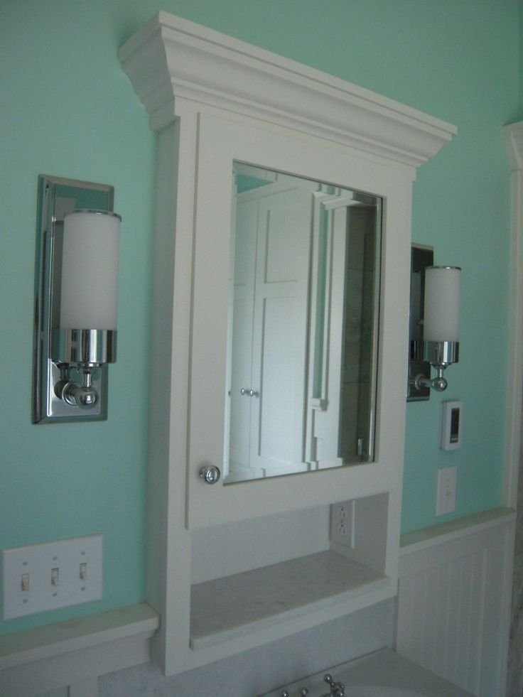 Marvelous Cool White Wooden Bathroom Cabinet Organization Between Stainless Steel  Wall Lighting Hang On Teal Wall Painted As Inspiring Victorian Teal Bathroom  Designs Part 28