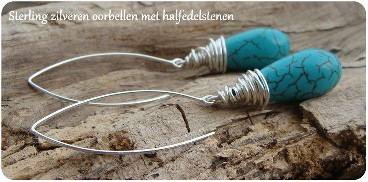 sterling zilveren oorbellen met halfedelstenen; turqouise