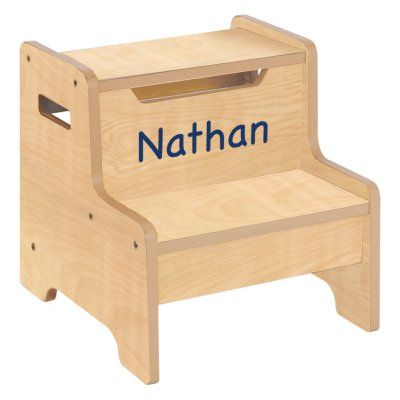 Guidecraft Expressions Natural Step Stool with Personalization Brown - G87206-103-203-306, ID724-230