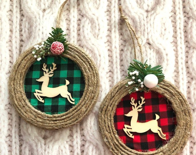Christmas Tree Ornaments Plaid Xmas Ornaments Set Of 2 Etsy In 2020 Handmade Christmas Ornaments Christmas Ornaments Handmade Ornaments