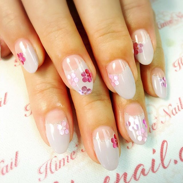 www.himenail.com call for an appointment 714-544-2364 Nails by Chihiro #Gelnails #Gel #Nailart #Confettinails #Deepfrench #Himenail #Flowernails #ジェルネイル #ジェル #フラワーネイル #コンフェティネイル #ディープフレンチネイル #ネイルアート #ネイルデザイン #姫ネイル