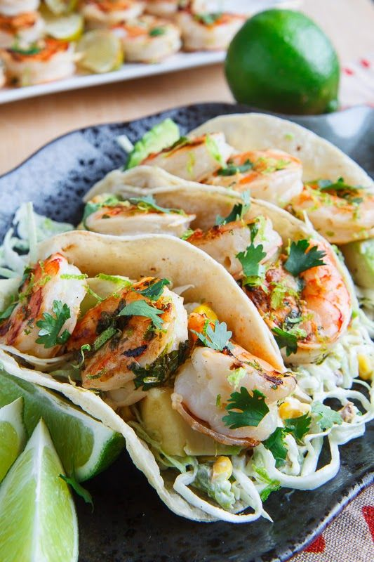 Cilantro Lime Shrimp Tacos w/ Roasted Corn & Jalapeno Slaw & Roasted Jalapeno Crema