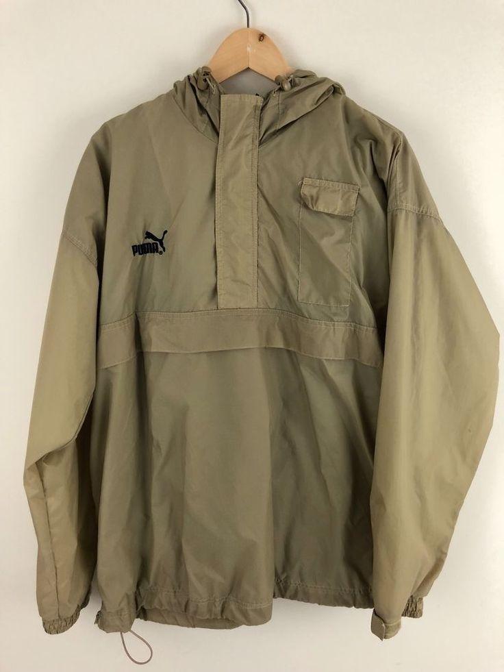 Vintage PUMA Mens Beige Nylon 1/2 Zip Pullover Windbreaker Jacket Size L #PUMA #Windbreaker