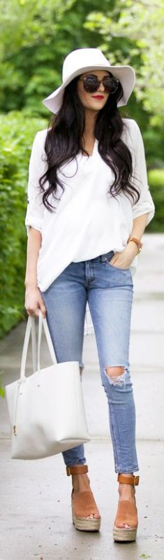 Top: Nordstrom (non-maternity. On sale for under $30!!!) | Jeans: Rag and Bone | Wedges: Chloe // Fashion Look by Pink Peonies