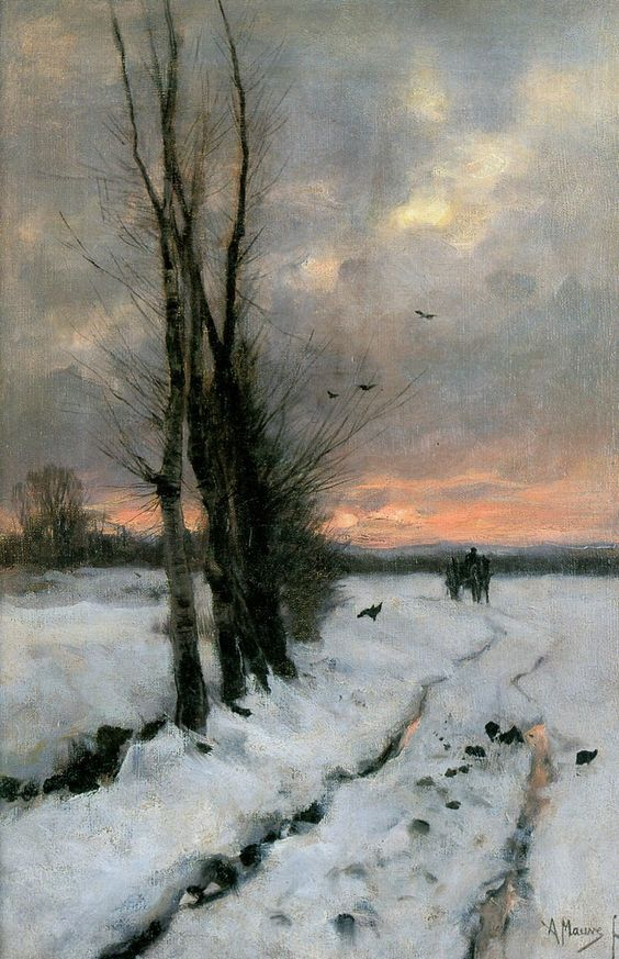 Winter Landscape at Sunset by Anton Mauve (1885-1887) Oil on Canvas (Private collection)